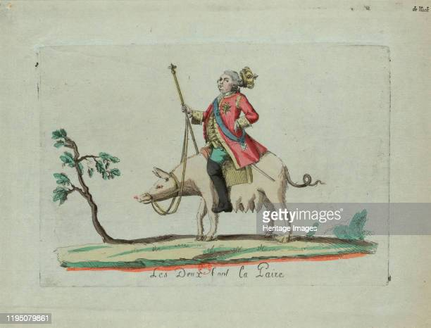 Louis Rides a Pig , 1791. Found in the Collection of Bibliothèque Nationale de France. Artist Anonymous.