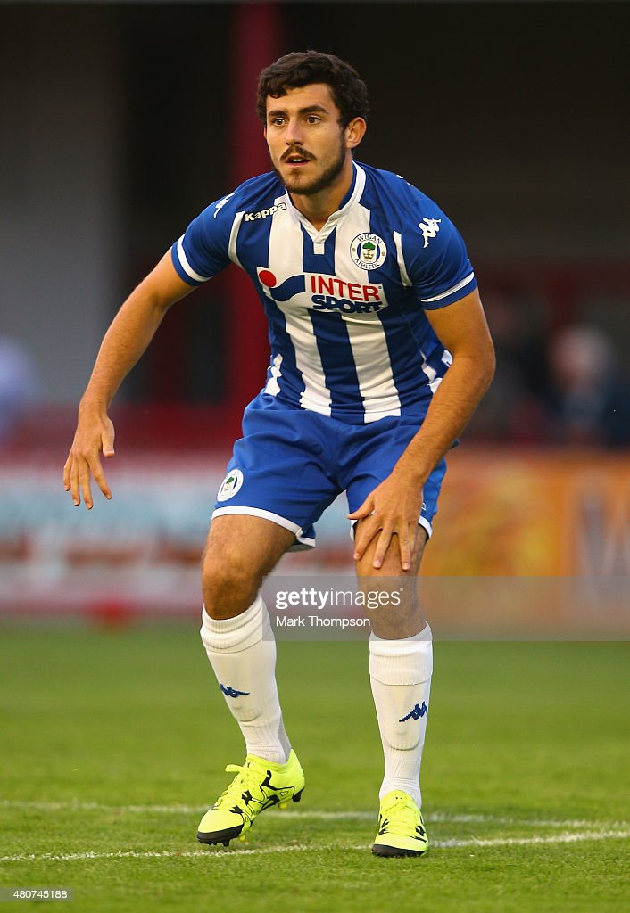 Louis Robles of Wigan Athletic in action during the pre season friendly between Altrincham and Wigan Athletic at the J Davidson stadium on July 14, 2015 in Altrincham, England.