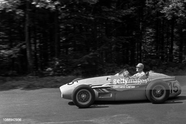 Louis Rosier, Maserati 250F, Grand Prix of Germany, Nurburgring, 05 August 1956. French ace Louis Rosier, born in 1905, on the way to fith place for...