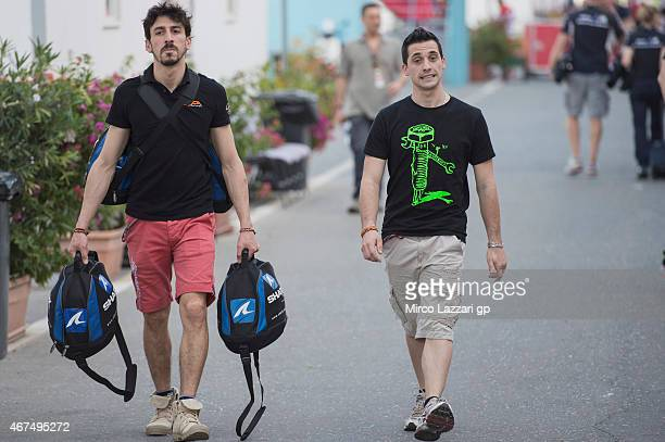 Louis Rossi of France and Tasca Racing Scuderia Moto2 and Alexis Masbou of France and Saxoprint RTG walk in paddock during the MotoGp of Qatar Press...