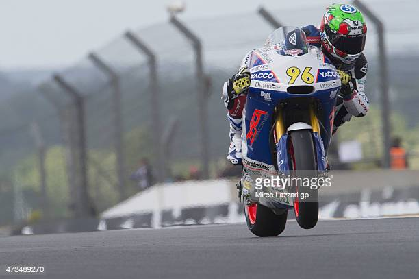 Louis Rossi of France and Tasca Racing Scuderia Moto2 heads down a straight during the MotoGp of France Free Practice at on May 15 2015 in Le Mans...