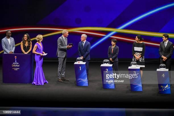 Louis Saha Alex Scott Amanda Davies Denis Brogniart head coach of France Didier Deschamps Aya Miyama of Japan Steffi Jones and Kaka during the...