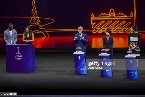 Louis Saha Alex Scott head coach of France Didier Deschamps Aya Miyama of Japan and Steffi Jones during the Women's World Cup Draw 2019 at La Seine...