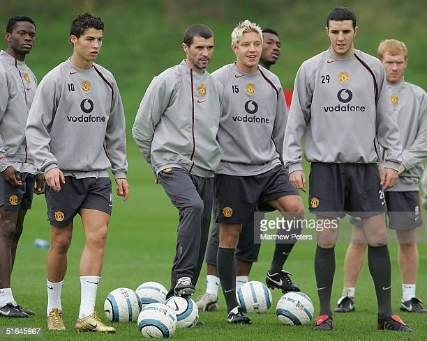Louis Saha Cristiano Ronaldo Roy Keane Alan Smith John O'Shea and Paul Scholes of Manchester United in action during a first team training session...