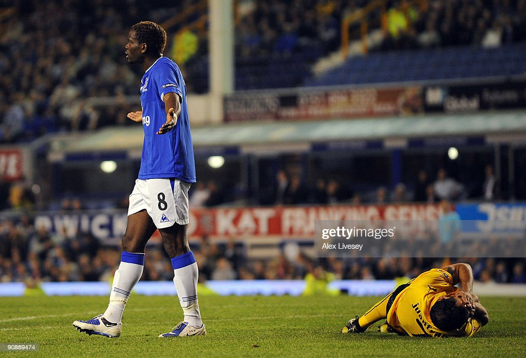 Louis Saha of Everton appeals in vain to the referee after a clash with Juanfran of AEK Athens for which he was sent off, during the UEFA Europa League Group I match between Everton and AEK Athens at Goodison Park on September 17, 2009 in Liverpool, England.