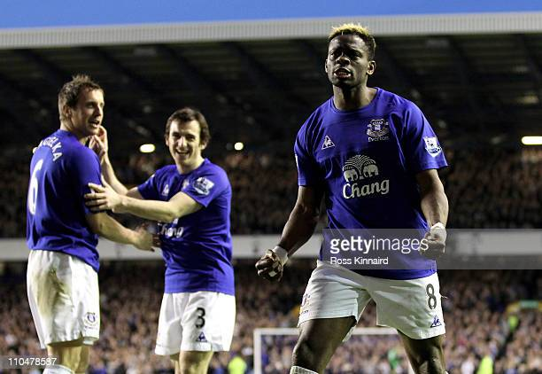 Louis Saha of Everton celebrates after scoring his team's 20 goal during the Barclays Premier League match between Everton and Fulham at Goodison...