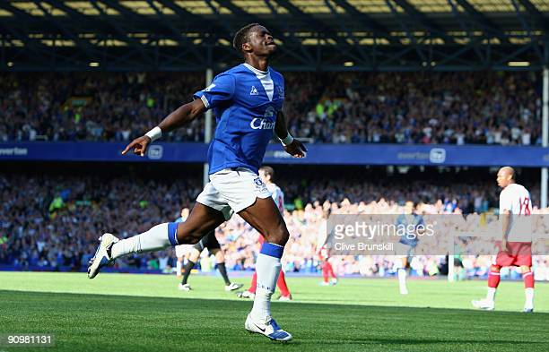 Louis Saha of Everton celebrates after scoring the opening goal of the Barclays Premier League match between Everton and Blackburn Rovers at Goodison...