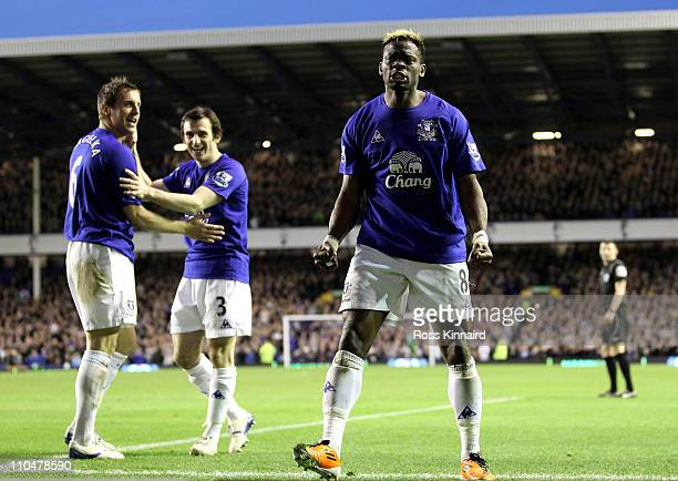 Louis Saha of Everton celebrates scoring his team's 20 goal during the Barclays Premier League match between Everton and Fulham at Goodison Park on...