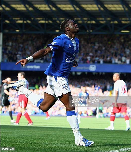 Louis Saha of Everton celebrates scoring the opening goal during the Barclays Premier League match between Everton and Blackburn Rovers at Goodison...