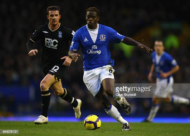 Louis Saha of Everton goes past Barry Ferguson of Birmingham City during the Barclays Premier League match between Everton and Birmingham City at...