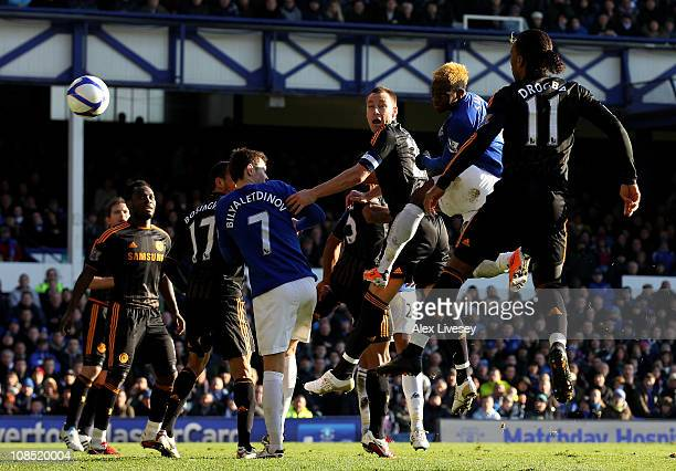 Louis Saha of Everton scores the opening goal during the FA Cup sponsored by EOn Fourth Round match between Everton and Chelsea at Goodison Park on...