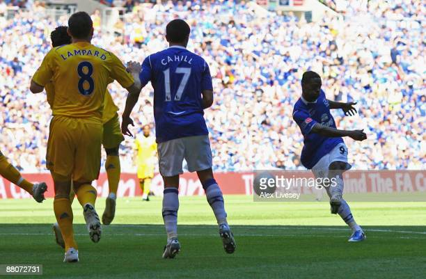 Louis Saha of Everton scores their first goal during the FA Cup sponsored by EON Final match between Chelsea and Everton at Wembley Stadium on May 30...