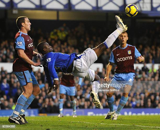 Louis Saha of Everton tries for the spectacular during the Barclays Premier League match between Everton and Aston Villa at Goodison Park on October...