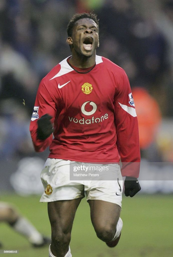 Louis Saha of Manchester United celebrates scoring the second goal during the FA Cup Fourth Round match between Wolverhampton Wanderers and Manchester United at Molineux on January 29 2006 in Wolverhampton, England.