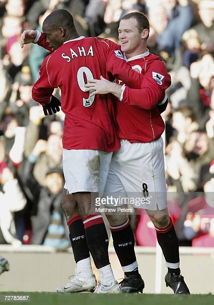 Louis Saha of Manchester United celebrates scoring the second goal during the Barclays Premiership match between Manchester United and Manchester...
