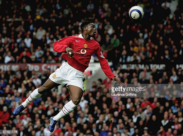 Louis Saha of Manchester United jumps for a header during the Barclays Premiership match between Manchester United and Charlton Athletic at Old...