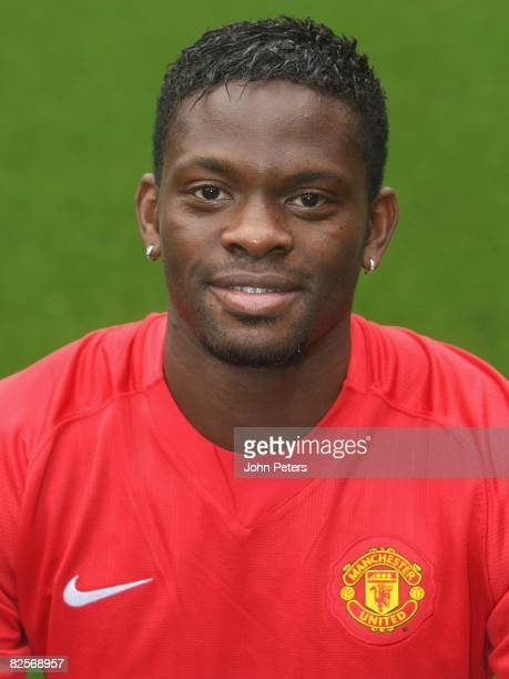 Louis Saha of Manchester United poses during the club's official annual photocall at Old Trafford on August 27 2008 in Manchester England