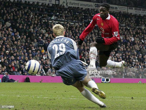 Louis Saha of Manchester United scores the second goal during the Barclays Premiership match between West Bromwich Albion and Manchester United at...