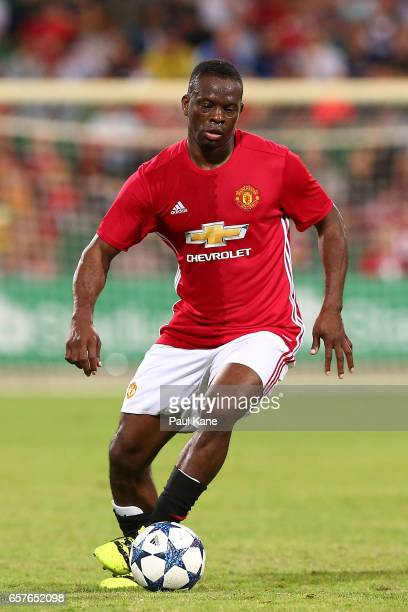 Louis Saha of the Manchester United Legends controls the ball during the Manchester United Legends and the PFA Aussie Legends match at nib Stadium on...