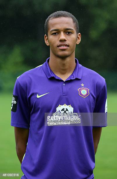 Louis Samson poses during the official team presentation of Erzgebirge Aue at ground 2 on July 14 2015 in Aue Germany