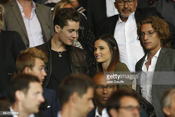 Louis Sarkozy his girlfriend Capucine Anav and Jean Sarkozy attend the French Ligue 1 match between Paris SaintGermain FC and GFC Ajaccio at Parc des...