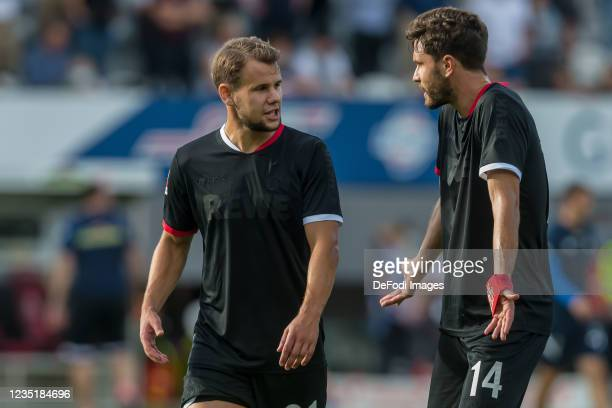 Louis Schaub of 1.FC Koeln and Jonas Hector of 1.FC Koeln ,looks dejected,gestures during the Bundesliga match between Sport-Club Freiburg and 1. FC...