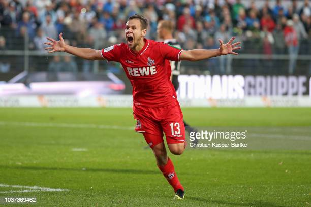 Louis Schaub of Cologne celebrates the opening goal for Cologne during the Second Bundesliga match between SV Sandhausen and 1 FC Koeln at BWTStadion...