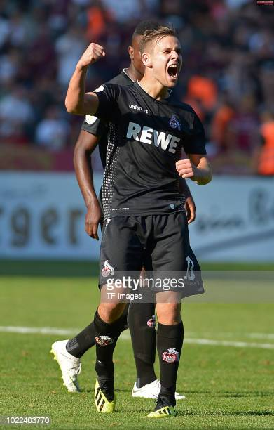 Louis Schaub of FC Koeln celebrates after scoring his team`s ninth goal during the DFB Cup first round match between BFC Dynamo and 1 FC Koeln at...
