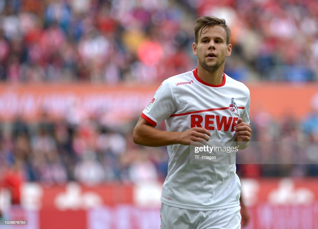 Louis Schaub of FC Koeln looks on during the second Bundesliga match between FC Koeln and FC Erzgebirge Aue at RheinEnergieStadion on August 25, 2018 in Cologne, Germany.