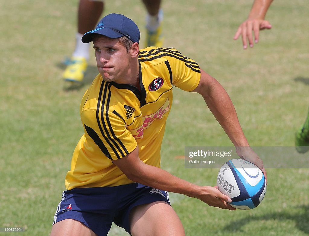 Louis Schreuder in action during the DHL Stormers training session at the High Performance Centre in Bellville on January 30, 2013 in Cape Town, South Africa.
