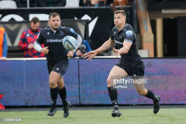 Louis Schreuder of Newcastle Falcons fires out a pass during the Gallagher Premiership match between Newcastle Falcons and Bristol at Kingston Park,...