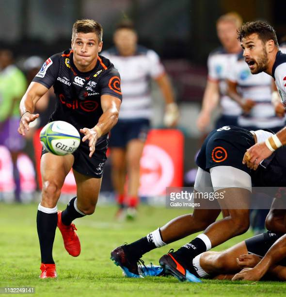 Louis Schreuder of the Cell C Sharks during the Super Rugby match between Cell C Sharks and Rebels at Jonsson Kings Park on March 23, 2019 in Durban,...