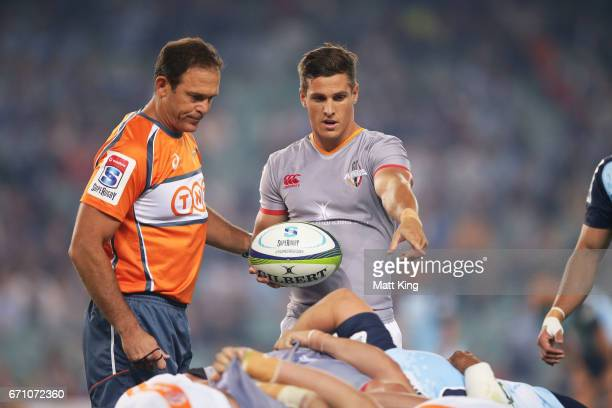 Louis Schreuder of the Kings tries to persuade Referee Rohan Hoffman during the round nine Super Rugby match between the Waratahs and the Kings at...