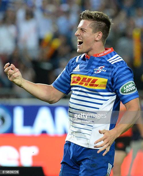 Louis Schreuder of the Stormers celebrates during the Super Rugby match between DHL Stormers and Sunwolves at DHL Newlands Stadium on April 08 2016...