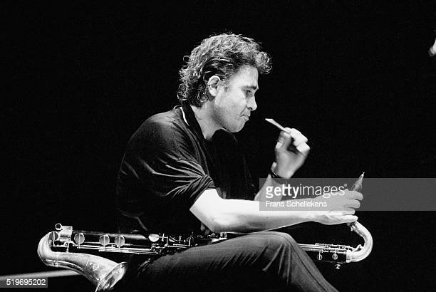 Louis Sclavis, bass clarinet, performs on March 12th 19984 at the BIM huis in Amsterdam, Netherlands.