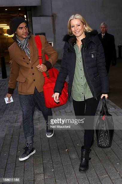 Louis Smith and Denise Van Outen seen at BBC Radio 1 ahead of the Strictly Come Dancing Final on December 21 2012 in London England