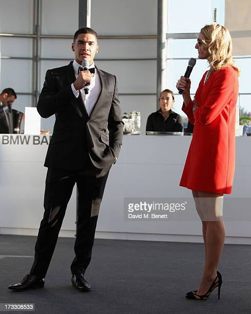 Louis Smith and Gabby Logan speak during a QA session at The Henley Festival 2013 in partnership with BMW on July 11 2013 in HenleyonThames England