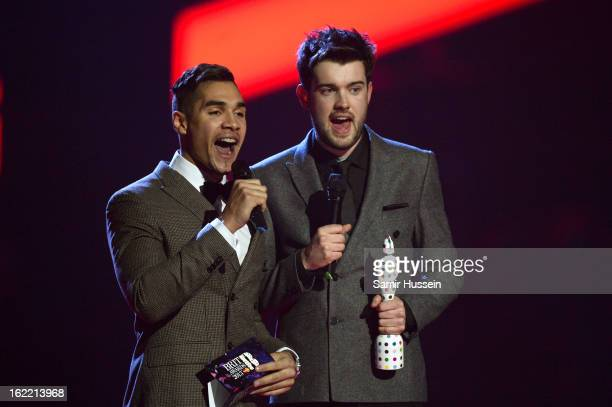 Louis Smith and Jack Whitehall present the award for British Live Act on stage during the Brit Awards 2013 at 02 Arena on February 20, 2013 in...
