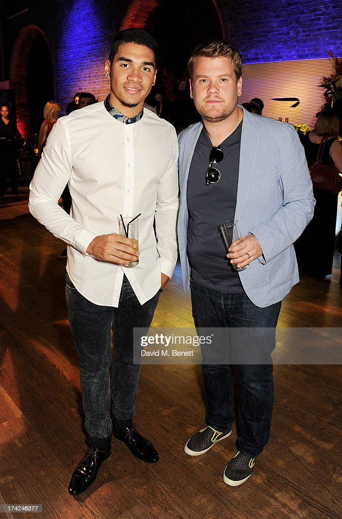 Louis Smith (L) and James Corden attend the launch of British Airways Silent Picturehouse at Vinopolis on July 22, 2013 in London, England.