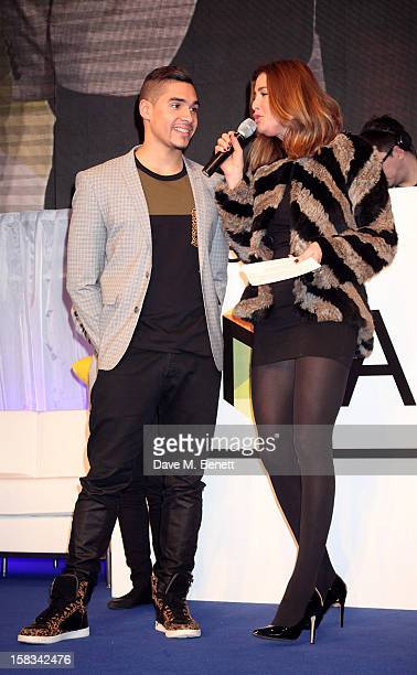 Louis Smith and Lisa Snowdon attend the Samsung Smart TV Angry Birds Party at Westfield Stratford City on December 13 2012 in London England