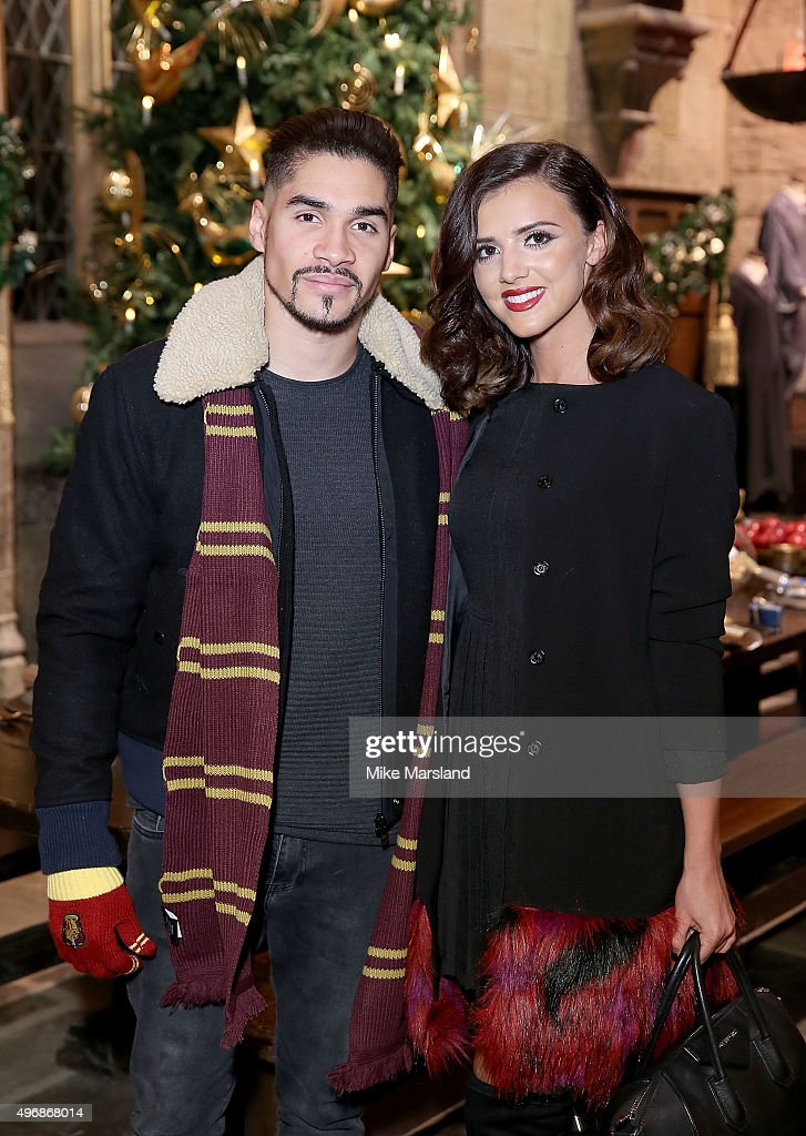 Louis Smith and Lucy Mecklenburgh attend the Launch Of Hogwarts In The Snow at Warner Bros. Studio Tour London on November 12, 2015 in Watford, England.