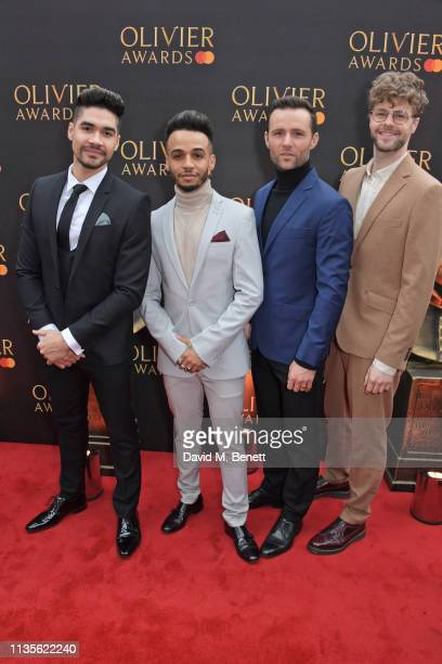 Louis Smith Aston Merrygold Harry Judd and Jay McGuiness attend The Olivier Awards 2019 with Mastercard at The Royal Albert Hall on April 7 2019 in...