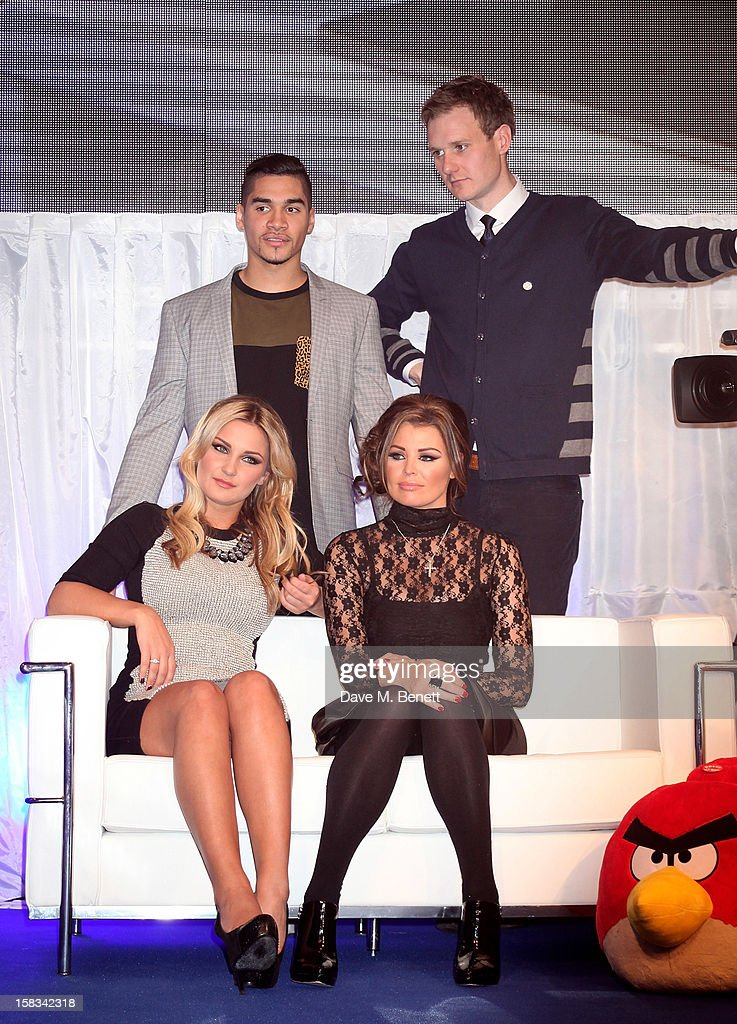 Louis Smith, Dan Walker and (front) Sam Faiers and Jessica Wright attend the Samsung Smart TV Angry Birds Party at Westfield Stratford City on December 13, 2012 in London, England.