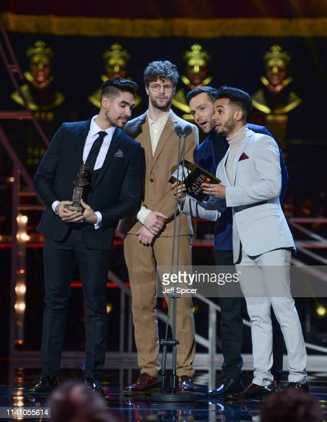 Louis Smith Jay McGuiness Harry Judd and Aston Merrygold on stage during The Olivier Awards 2019 with Mastercard at the Royal Albert Hall on April 07...