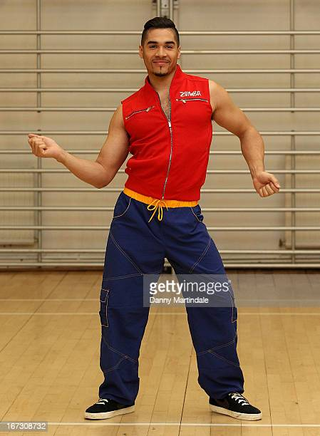 Louis Smith MBE does zumba moves at a photocall to launch Zumba Fitness' Great Calorie Drive initiative at Columbo Centre on April 24 2013 in London...