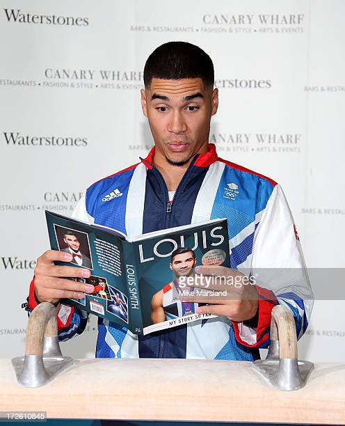 Louis Smith meets fans and signs copies of his new book 'Louis My Story So Far' at Waterstones Canary Wharf on July 4 2013 in London England