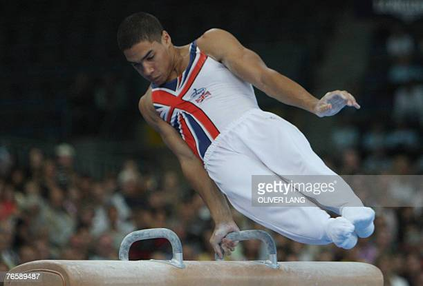 Louis Smith of Britain competes on the pommel horse during the men's apparatus final on the pommel horse of the 40th World Artistic Gymnastics...