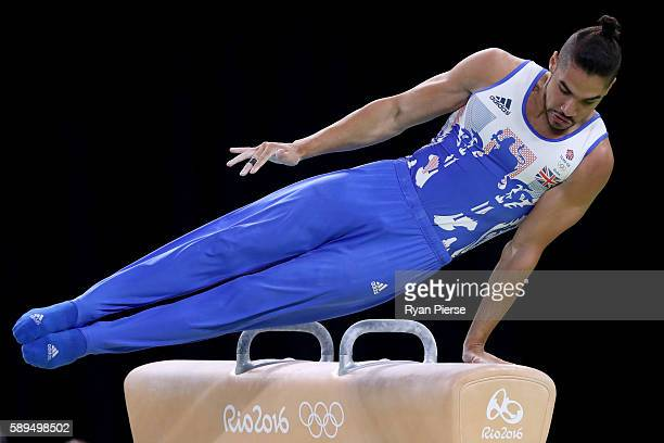 Louis Smith of Great Britain competes in the Men's Pommel Horse Final on Day 9 of the Rio 2016 Olympic Games at the Rio Olympic Arena on August 14...