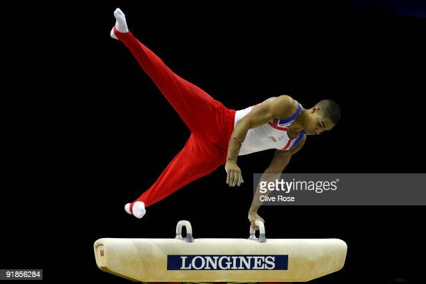 Louis Smith of Great Britain competes in the pommel horse event during the Artistic Gymnastics World Championships 2009 at O2 Arena on October 13...
