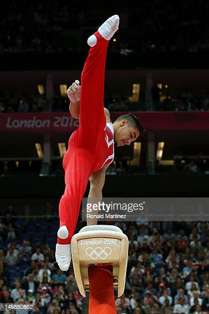 Louis Smith of Great Britain competes on the horse during the Artistic Gymnastics Men's Pommel Horse Final on Day 9 of the London 2012 Olympic Games...